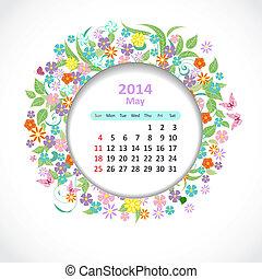 kalender, voor, 2014, mei