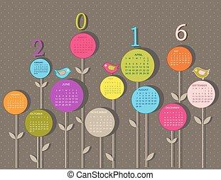 kalender, voor, 2016, jaar, met, bloemen
