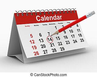 kalender, weiß, hintergrund., freigestellt, 3d, bild