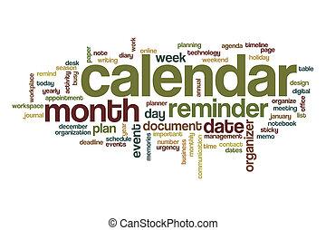 kalender, woord, wolk