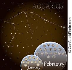 kalender, zodiac, aquarius., meldingsbord