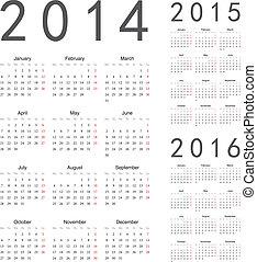 kalenders, vector, jaar, 2016, 2015, 2014, europeaan