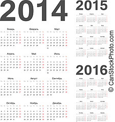 kalenders, vector, jaar, russische , 2016, 2015, 2014