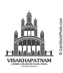 kali, 寺廟, 界標, 在, visakhapatn