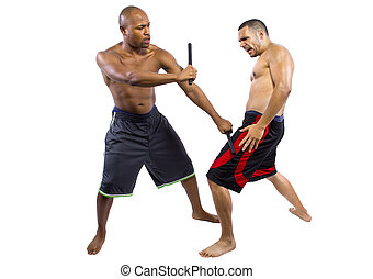 Kali Escrima Sparring on White Background - two martial...