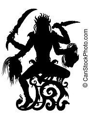 kali, godin, indiër, silhouette