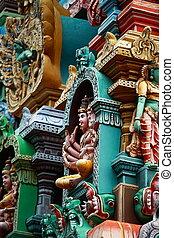 Kali image. Sculptures on Hindu temple gopura (tower)....