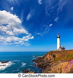 kalifornia, gołąb pokazują latarnię morska, w, cabrillo,...