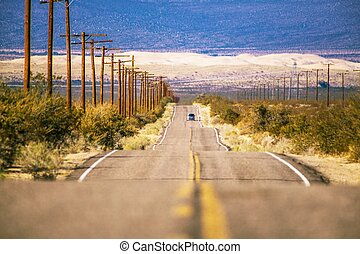 kalifornien, öken, väg snava