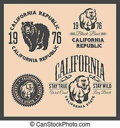 kalifornien, republik, årgång, typografi, med, a, grizzly...