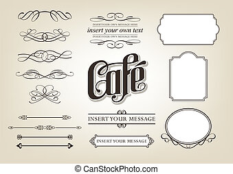 kaligrafia, komplet, kawiarnia