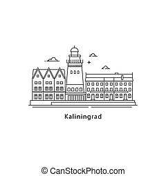 Kaliningrad logo isolated on white background. Kaliningrad s landmarks line vector illustration. Traveling to Russia cities concept.