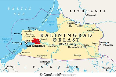 Kaliningrad Oblast, political map. Kaliningrad Region, federal subject and semi-enclave of Russia, located on the coast of the Baltic Sea, with administrative centre Kaliningrad. Illustration. Vector.
