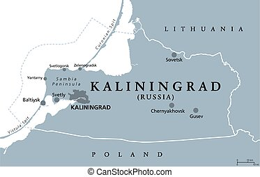Kaliningrad Region, gray political map. Kaliningrad Oblast, federal subject and semi-enclave of Russia, located on the coast of Baltic Sea, with administrative centre Kaliningrad. Illustration. Vector