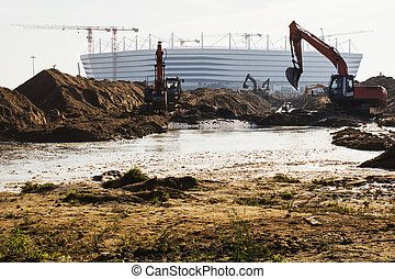 Kaliningrad-Russia, 28 September, 2017: Construction of a football stadium for the 2018 world Cup