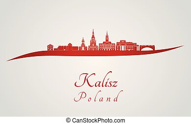 Kalisz skyline in red