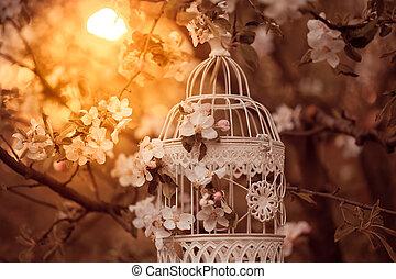 kalitka, lakberendezési tárgyak, -, madár, romantikus