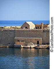 kalkara, point, batterie, péninsule, malte, ricasoli, fort
