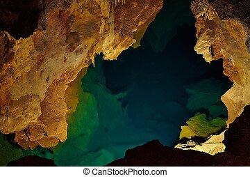 kalksten, grotta