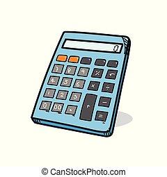 kalkulačka, běloba grafické pozadí, ilustrace