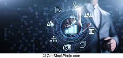 kalkulace, účetnictví, finance, concept., účetnictví, business peněnictí