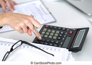 kalkulace, up, účetní, bankéř, samičí, uzavřít, dělání, nebo
