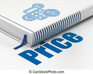 kalkulator, handel, cena, książka, tło, biały, concept: