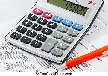 kalkulator, i, pen.
