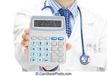 kalkulator, jego, holdling, ręka, doktor