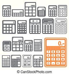 kalkulator, komplet, narzędzia, ikony