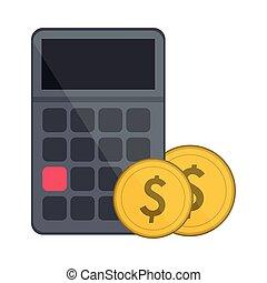 kalkulator, monety, symbol