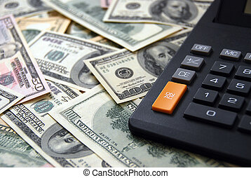 kalkulator, na, pieniądze, tło