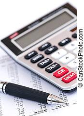 kalkulator, opodatkować, pióro