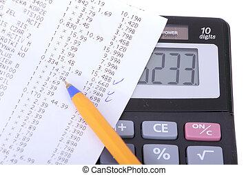 kalkulator, pojęcie, finansowy, pióro