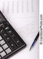 kalkulator, wykresy, handlowy, pióro