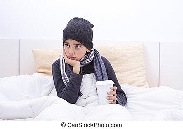 kall, barn in blomsterbädd, med, mössa, och, scarf