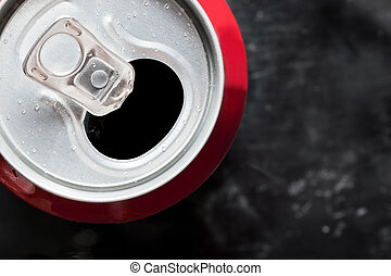kall, cola, kan, topp, tillsluta, med, vatten gnuttar