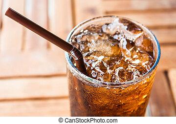 kall, glas, med, is, svart, soda, dricka