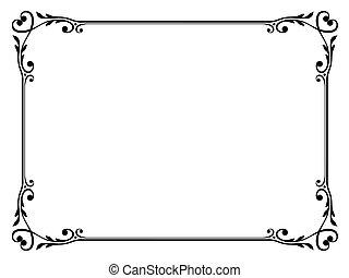 kalligrafi, ornamental, dekorativ, ram, med, hjärta
