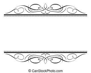 kalligrafi, vinjett, ornamental, skrivkonst, dekorativ, ram