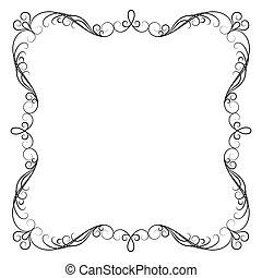 kalligrafie, black , frame, achtergrond, decoratief, witte , decoratief