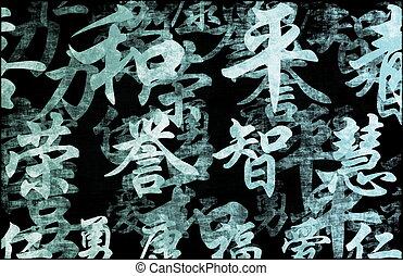kalligrafie, chinees, achtergrond, schrijvende