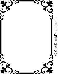 kalligrafie, kalligrafie, krullend, barok, frame, black