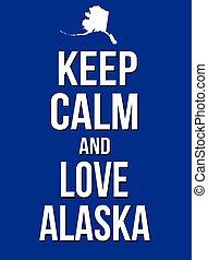 kalm, poster, liefde, bewaren, alaska