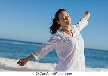 kalm, vrouw stretching
