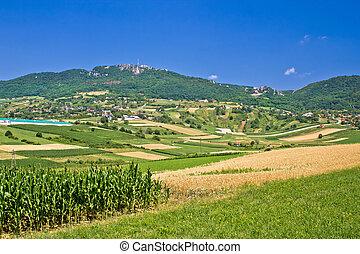 Kalnik mountain agricultural green landscape, Prigorje...