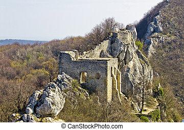 Kalnik mountain fortress on cliff, Croatia