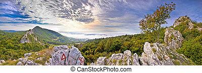 Kalnik mountain fortress ruins and nature panoramic view,...