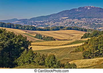 Kalnik mountain landscape - fields and countryside, Prigorje...