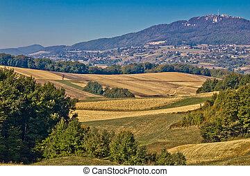 Kalnik mountain landscape - fields and countryside, Prigorje...